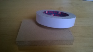 wood block and double-sided tape