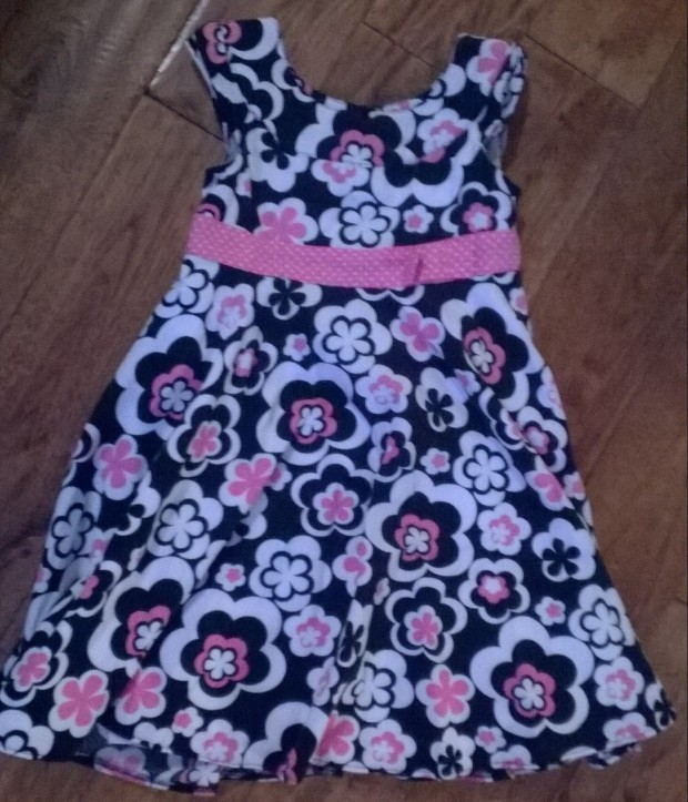 funky black white pink dress