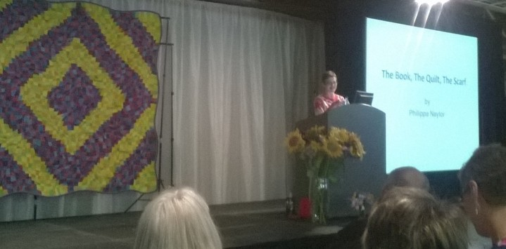 Philippa Naylor speaking at the Quilters'Guild AGM