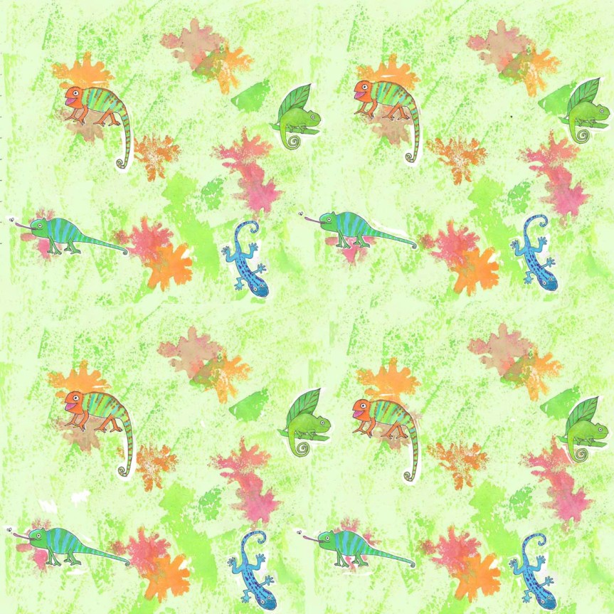 Cheerful Chameleons by Amanda Jane Textiles