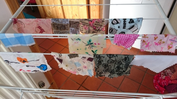 Hanging lucky bag pieces out to dry.JPG