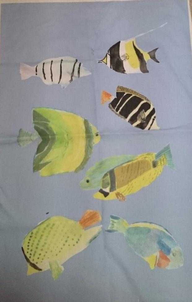 'The Reef' tea towel design by Amanda Jane Textiles