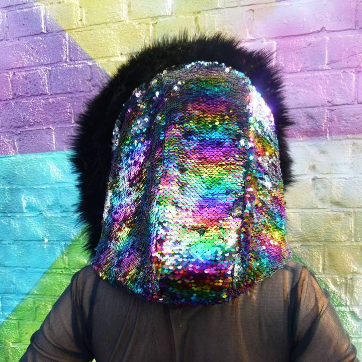 Sequinned hood from Hoodlum clothing