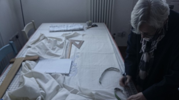 Hannah Watherston making a toile, photo by Amanda Jane Textiles