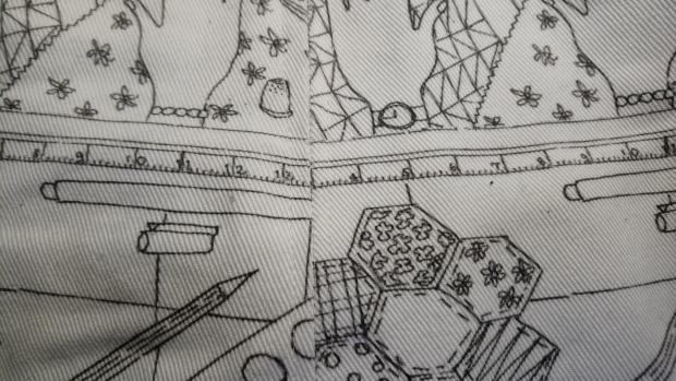 The work of my hands fabric, skirt side seam, skirt, photo by Amanda Jane Textiles