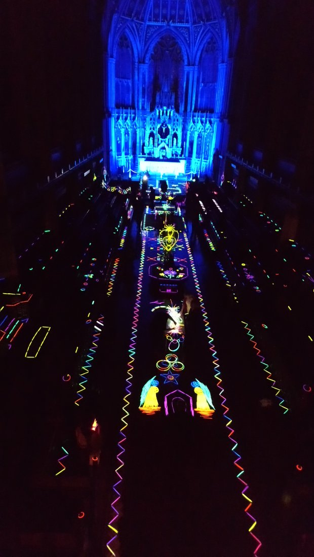 Art-work with glow-sticks in the Chapel at Ushaw College