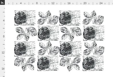 block print roses