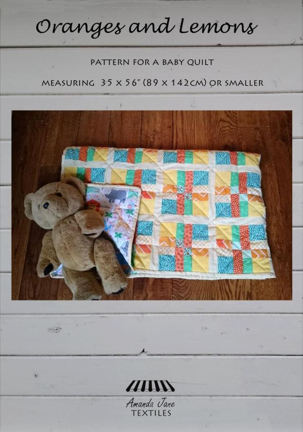 Oranges and Lemons cot quilt pattern, cover, by Amanda Jane Textiles