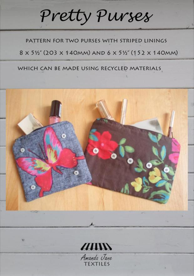 Pretty Purses pattern, cover, by Amanda Jane Textiles