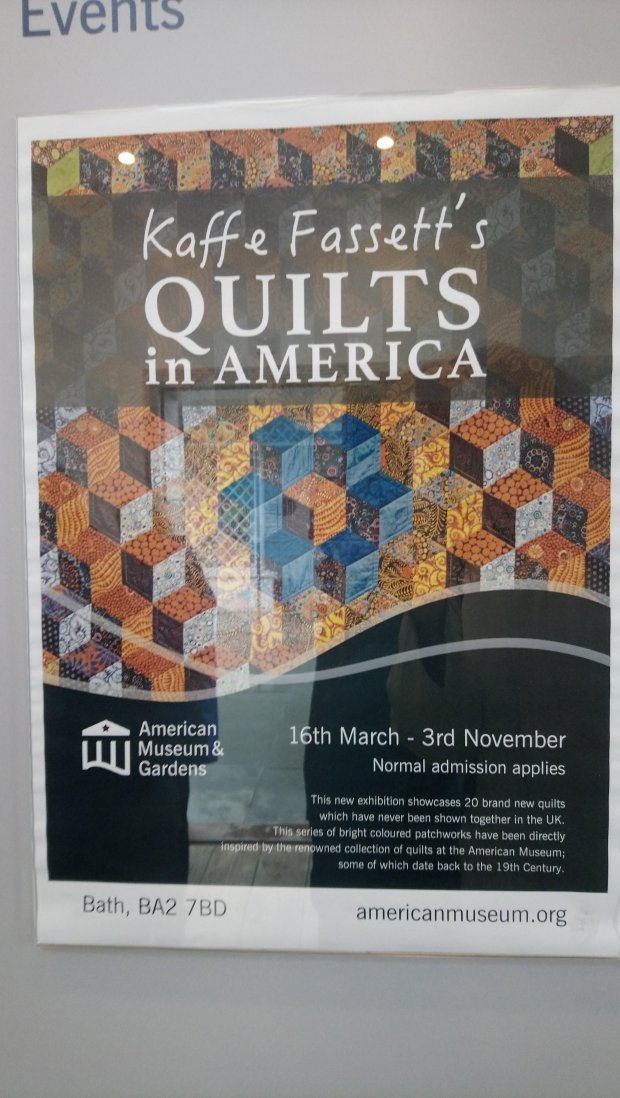 Kaffe Fassett's 'Quilts in America' exhibition poster
