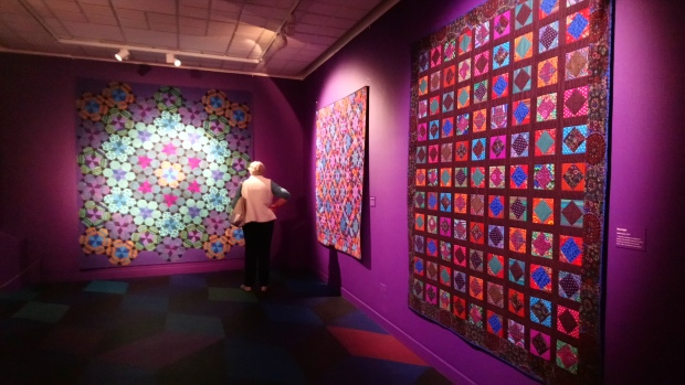 Quilts on display at Kaffe Fassett's Quilts in America at the American Museum, Bath